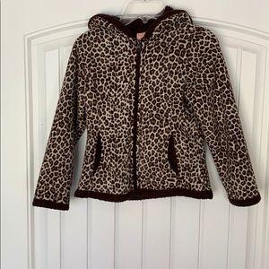Leopard print girl's jacket size small (6-6X)